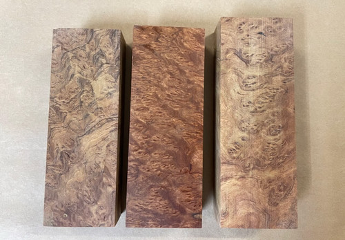 The middle block has been polished and oiled to show the figure and colour