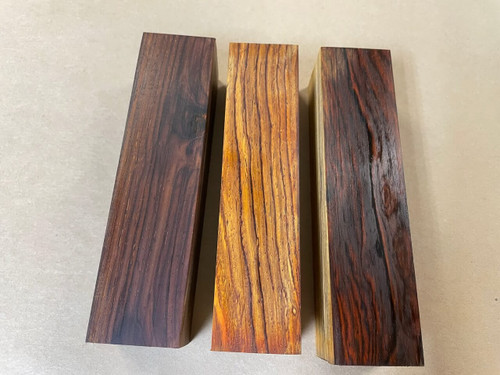 The middle block is freshly cut and has had some oil applied to show the colours. The outside blocks show how the wood can discolour when exposed to air and UV light