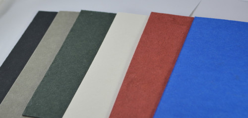 Spacer materials in black, grey, green, white, red and blue