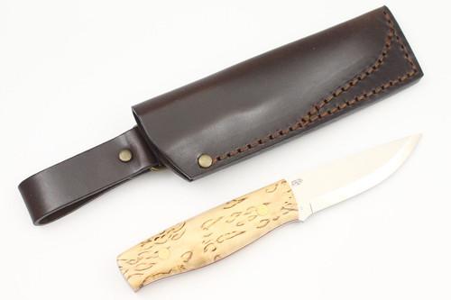 EnZo Elver Knife, Scandi Grind, Curly Birch Scales