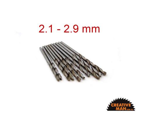 Drill bit set 2.1 - 2.9 mm (9 drill bits)