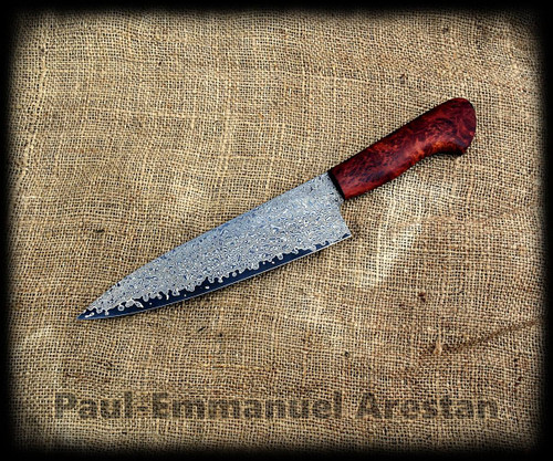 Chef knife with this steel by Paul E Arestan, full time maker in QLD