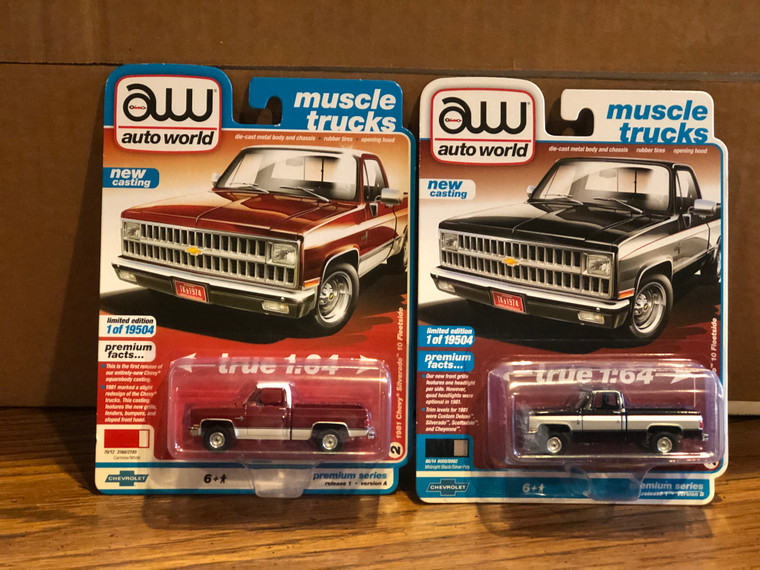 Auto World 1981 Chevrolet Silverado Pickup Set of Two trucks 1/64