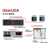 iStarUSA D-314-MATX 3U Compact Rackmount Chassis Compatible w/ PS2 Power Supply
