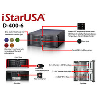 iStarUSA D-400-6-BLUE 4U Compact Stylish Rackmount Chassis Blue