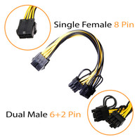 AAAwave Single Female 8 Pin PCI-E to Dual Male 6+2 Pin PCI-E Cable