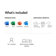 Microsoft QQ2-01024 365 Personal 1 Year Subscription For 1 User - For Windows macOS iOS and Android devices - PC/Mac Keycard