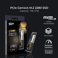 Silicon Power SP02KGBP44US7005 2TB NVMe 4.0 Gen4 PCIe M.2 SSD R/W up to 5,000/4,400 MB/s
