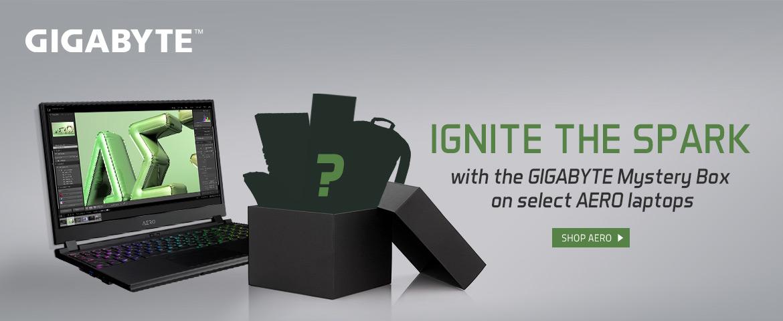 Gigabyte Aero laptop get the mystery box ignite the spark