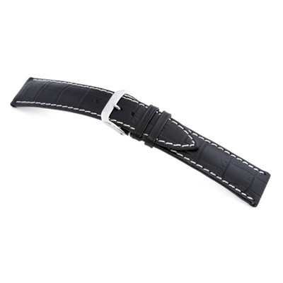 Black RIOS1931 New Orleans, Embossed Leather Alligator Print Watch Band | TheWatchPrince.com