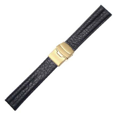 Black Double Ridge Buffalo Grain W/Deploy with Gold-Tone Buckle