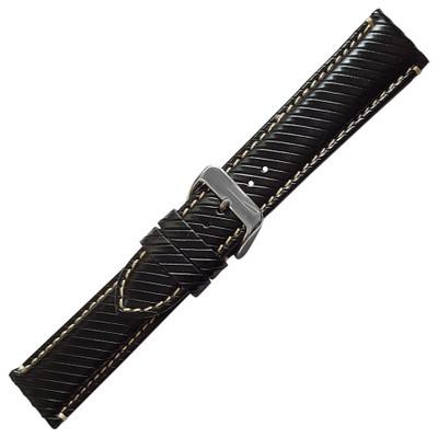 Black Italian Leather Watch Band   Hadley Roma MS852