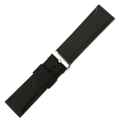 Black Genuine Rubber Watch Band | Wide Diver | MS3377