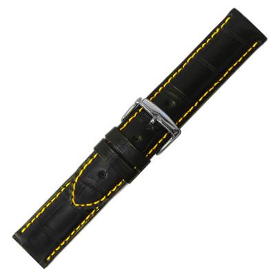 Black Genuine Alligator, Yellow Stitching (HR-MS2024)