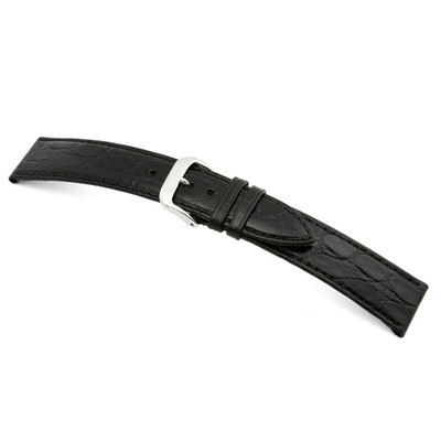 Black RIOS1931 Brazil, Embossed Crocodile Grain Leather Watch Band | TheWatchPrince.com