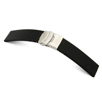 Black RIOS1931 Richmond, Water Resistant Rubber Watch Band with Deploy Clasp Attached | TheWatchPrince.com