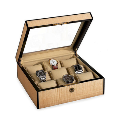 Venlo Blond   Wooden Watch Box with Display Window   for 9 Watches