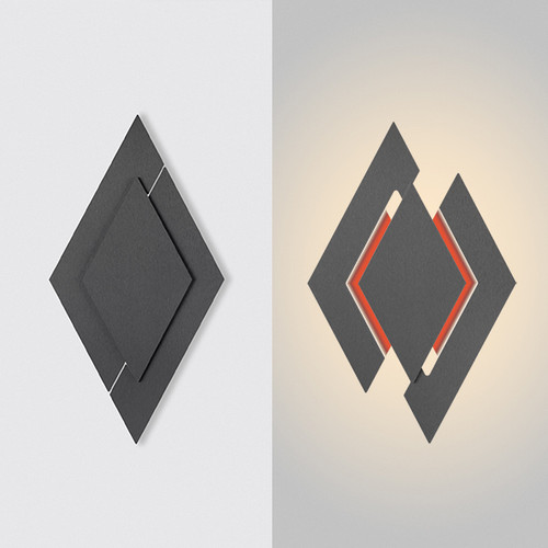 "This is the ""apex"" model from furl, showing the light in the closed position on the left hand side, and open on the right hand side.  This is a charcoal color modern wall sconce fixture with white primary lights and orange RGB lights."