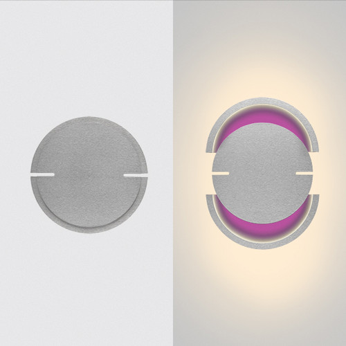 "This is the ""rise"" model from furl, showing the light in the closed position on the left hand side, and open on the right hand side.  This is a silver modern wall sconce fixture with white primary lights and purple RGB lights."