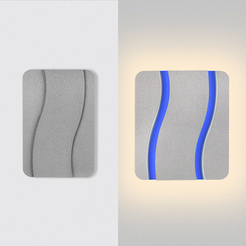 "This is the ""drift"" model from furl, showing the light in the closed position on the left hand side, and open on the right hand side.  This is a silver modern wall sconce fixture with white primary lights and blue RGB lights."