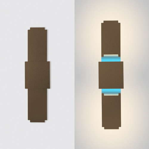"This is the ""spire"" model from furl, showing the light in the closed position on the left hand side, and open on the right hand side.  This is the bronze modern wall sconce fixture with white primary lights and blue RGB light."