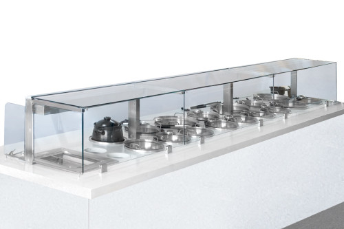 Service Counter with 19 Wells and Sneeze Guard