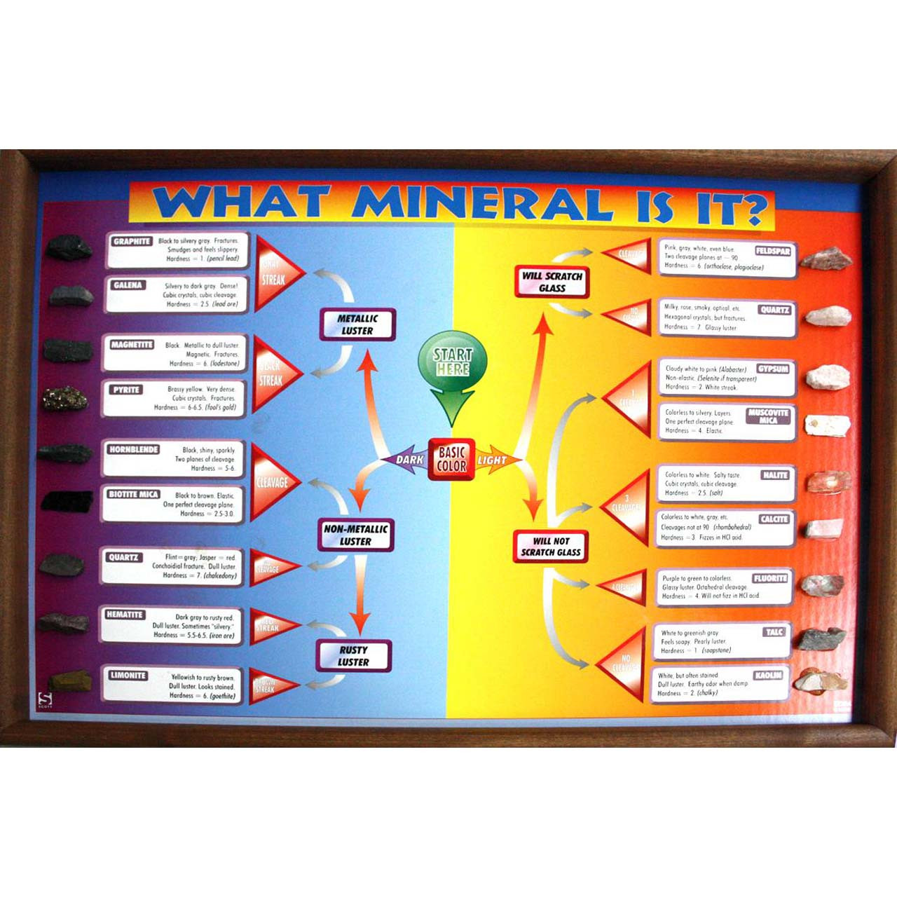 What mineral is it? chart with mounted specimens