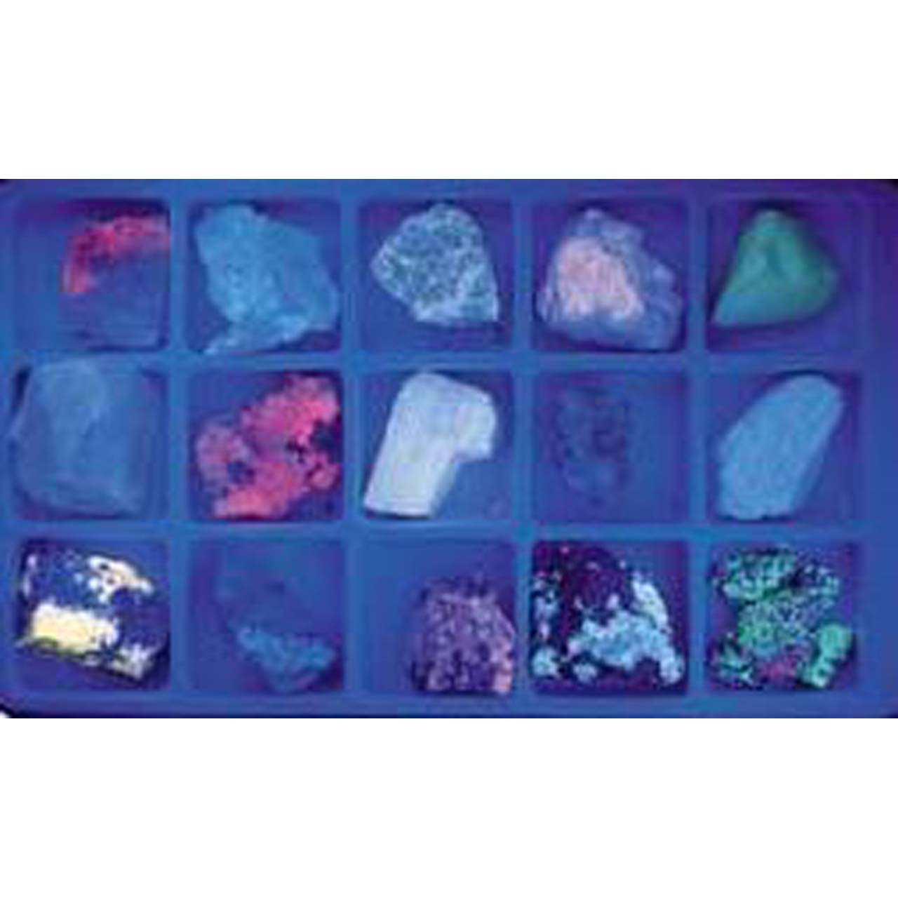 Fluorescent mineral collection, long and short wave