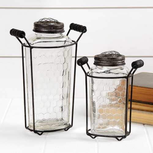Honeycomb Pattern Glass Bottle With Wire Frame – Large