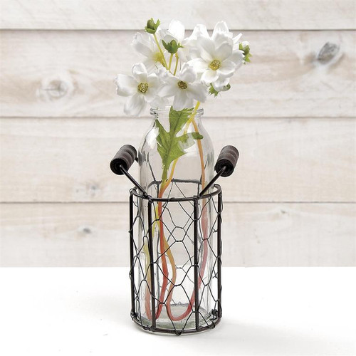Round Wire Basket With Glass Bottle