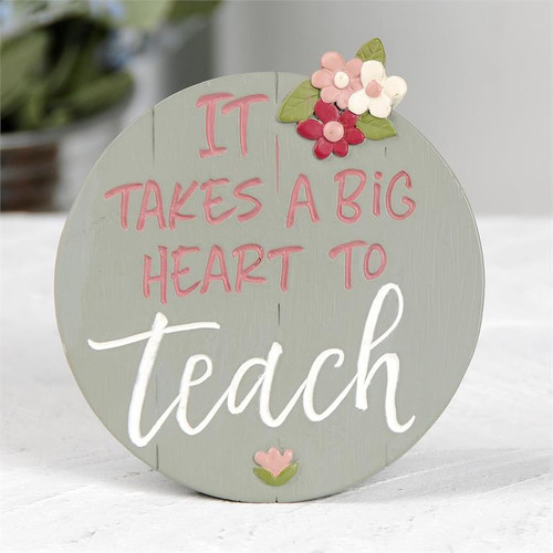 """Big Heart to Teach"" - Resin Plaque (With Easel)"