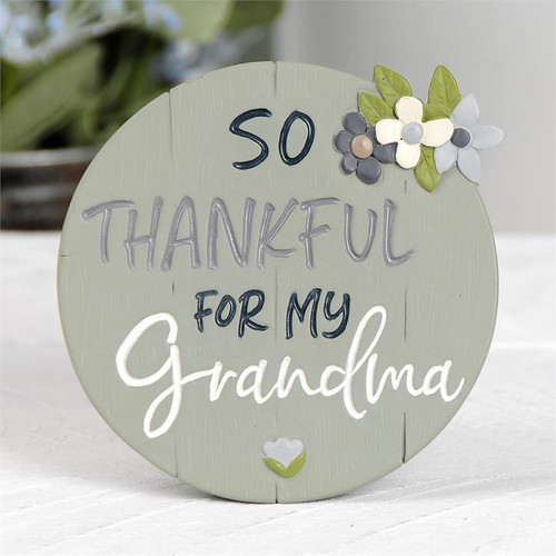 """Thankful For My Grandma"" - Resin Plaque (With Easel)"