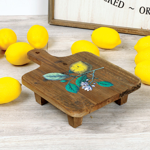 Lemon Recycled Wood Bread Board Stand
