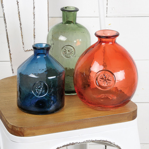 """8"""" Stamped Glass Vase - Red"""
