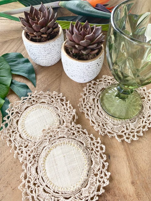 Handkrafted  Raffia Set of 6 pcs Glass Coaters