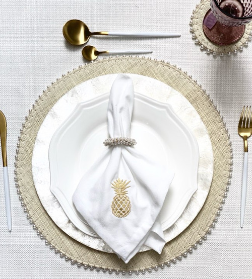 Handmade Beaded Placemat and Coasters