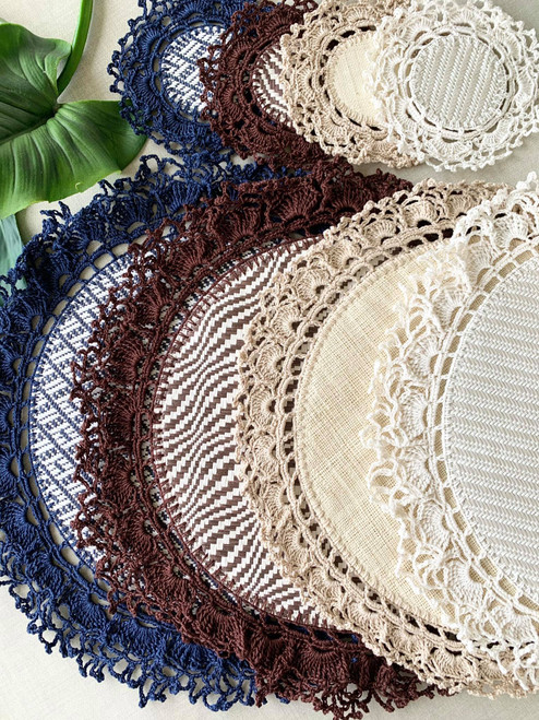 Handmade Crocheted Placemat and Coasters