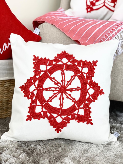 Christmas Design Cushion Cover - Crocheted
