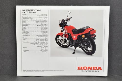 NOS Honda 1982 FT500 Ascot Brochure Specs Sheet