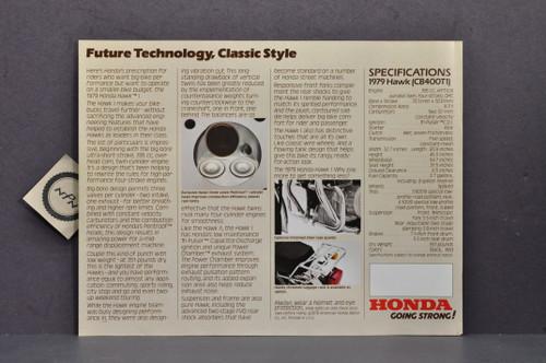 Vintage NOS 1979 Honda CB400 T1 Hawk I Motorcycle Brochure Spec Sheet Flyer