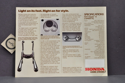 Vintage NOS 1979 Honda CB400 TII Hawk II Motorcycle Brochure Spec Sheet Flyer