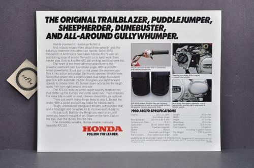 Vintage NOS 1980 Honda ATC110 Three Wheeler Brochure Spec Sheet Flyer