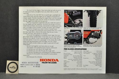 Vintage NOS 1980 Honda XL500 S Brochure Spec Sheet Flyer