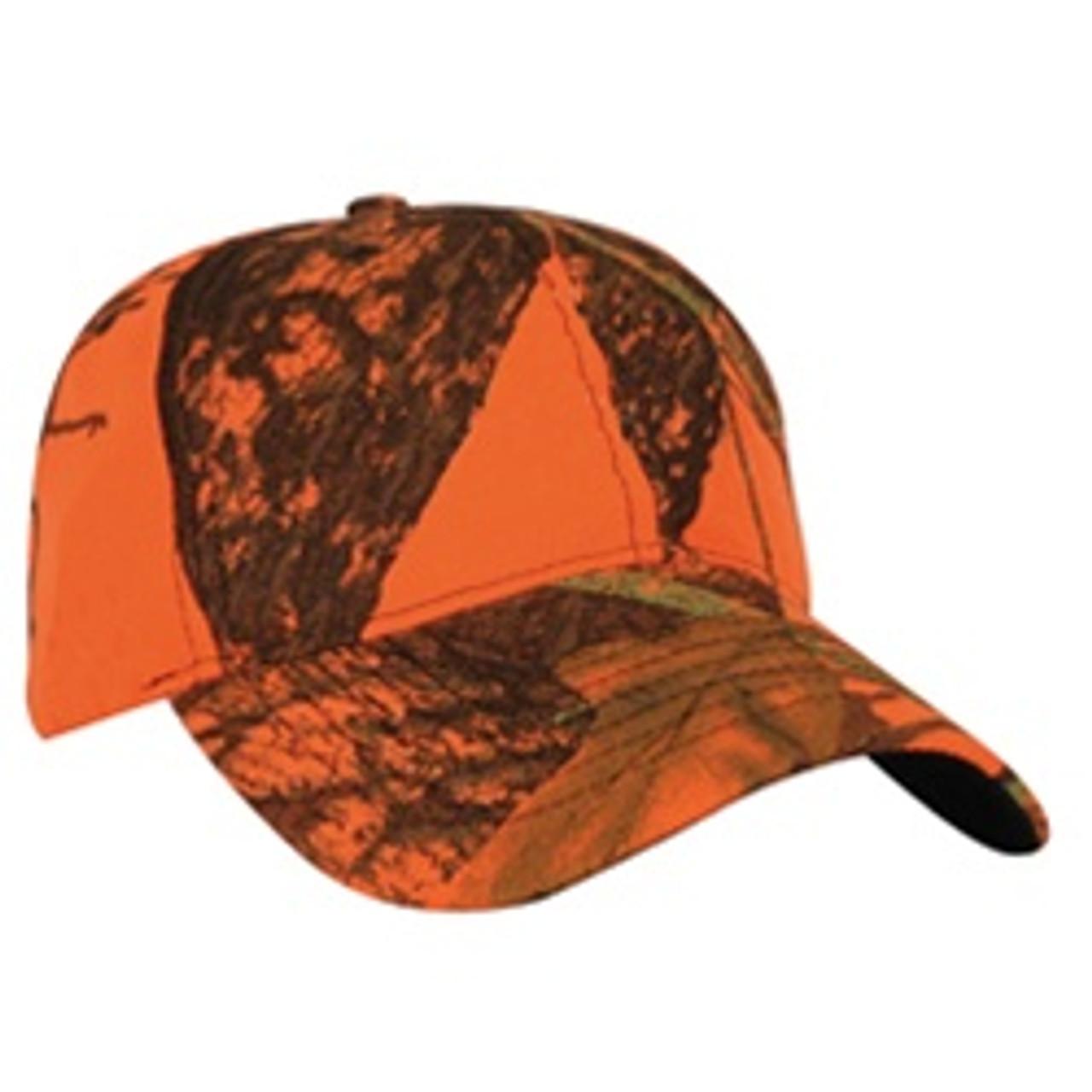 Custom Florescent Blaze Orange Mossy Oak Hat