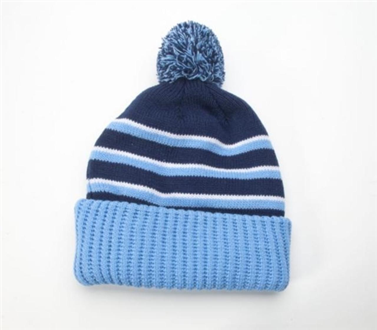 Embroidered Pom Knit Beanie w-Cuff
