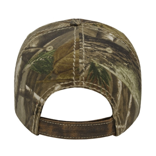 Custom Poly Cotton Faux Leathered Camo Cap