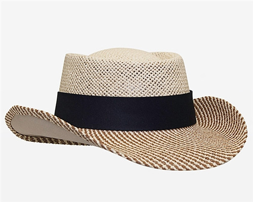Embroidered Gambler Straw Breathable Hat