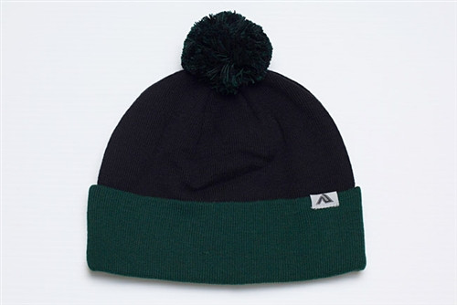 Embroidered Pom-Pom Acrylic Knit Hat