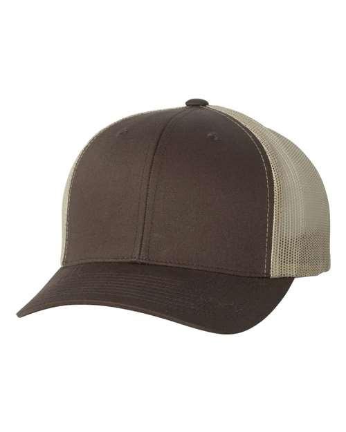 Custom 2-Tone Retro Flexfit Brand Trucker Hat, Plastic Snap