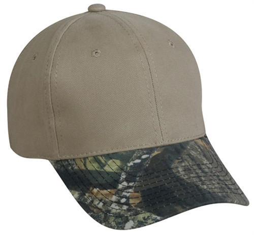 Promotional Two Tone Solid Ballcap w-Camo Visor